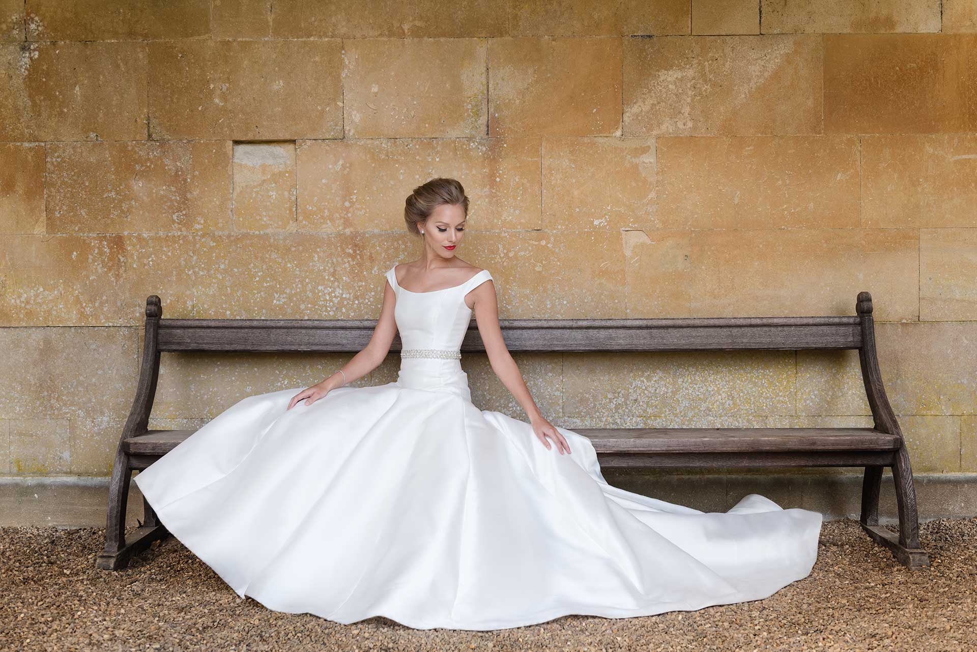 Bridal fashion shoot at Castle Ashby Gardens