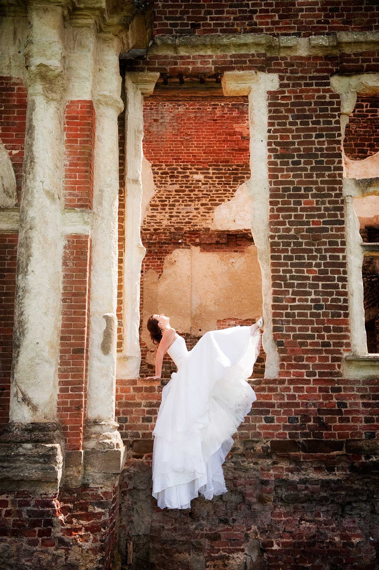 Bridal fashion shoot at Houghton House in Ampthill