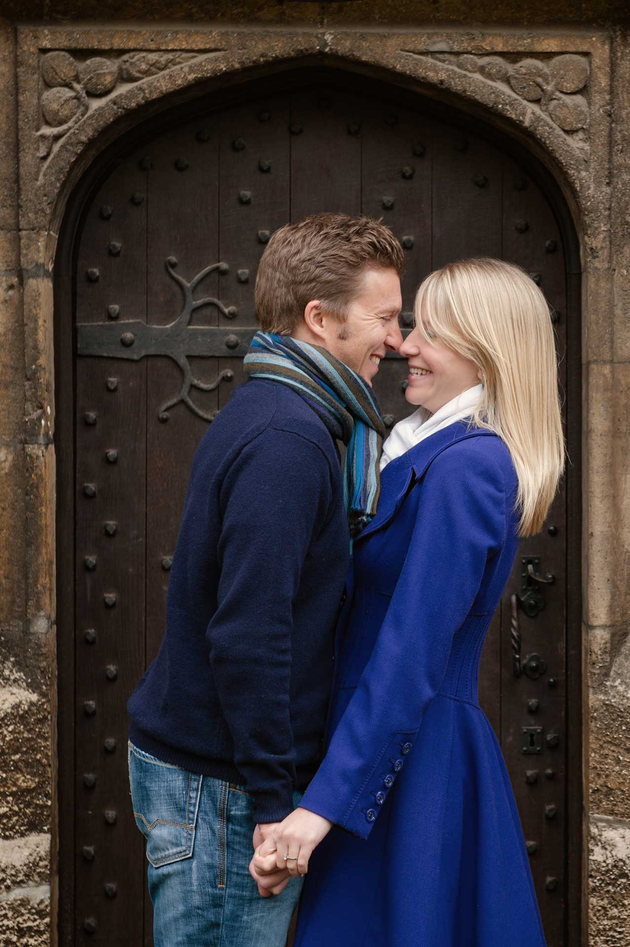 A pre-wedding shoot in the courtyard at Rushton Hall