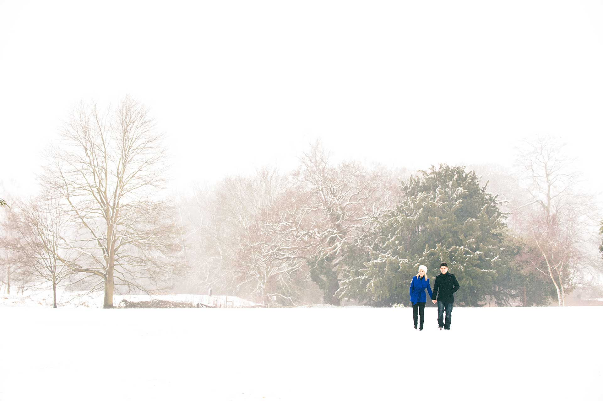 A pre-wedding shoot in the snow at Delapre Abbey