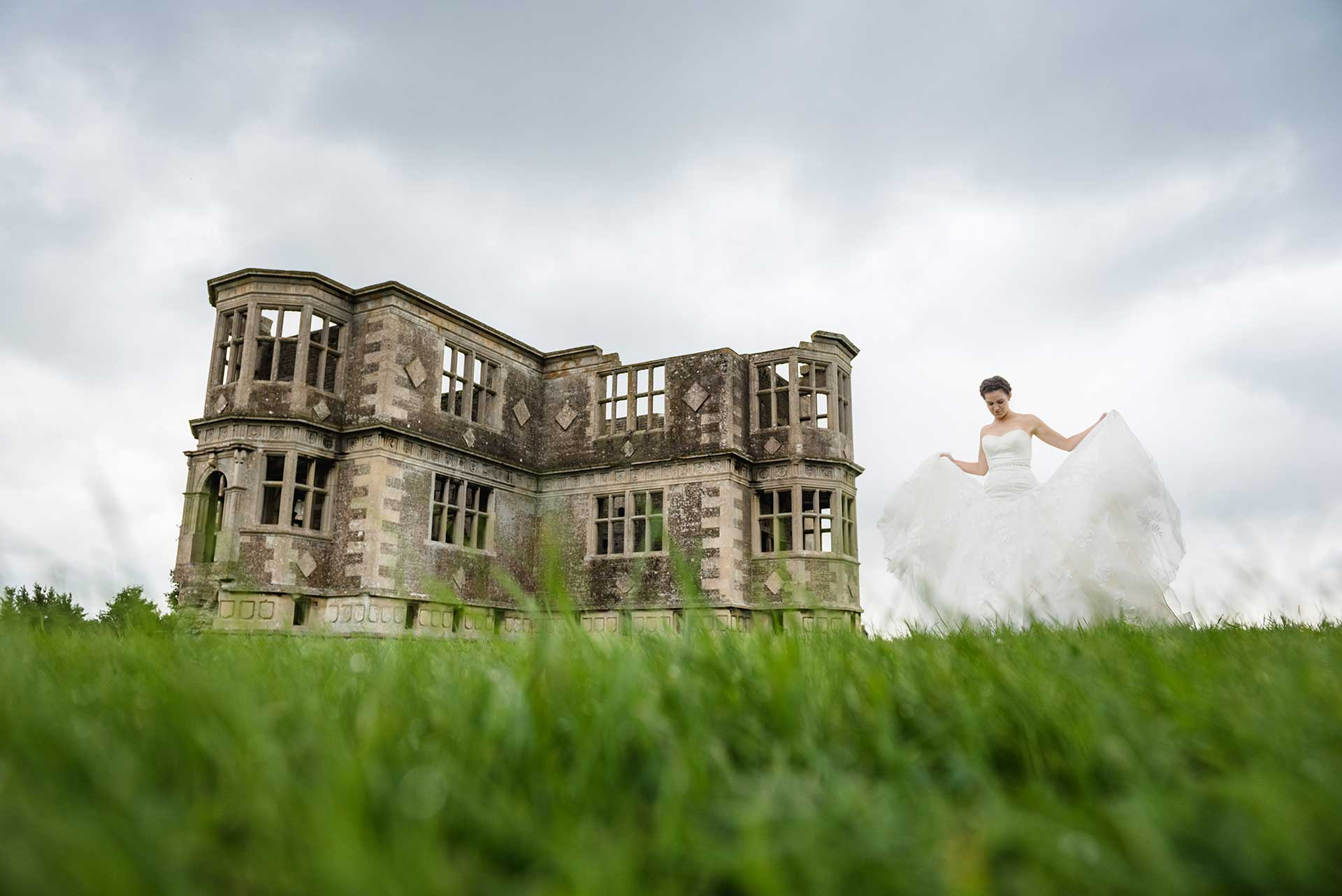 Bridal fashion shoot at a country house