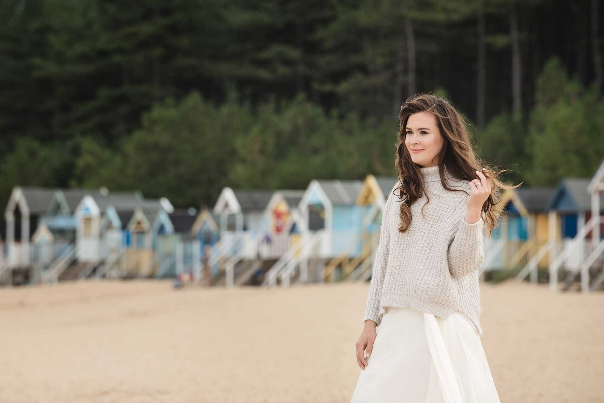 Bridal fashion shoot at Wells Next The Sea beach huts
