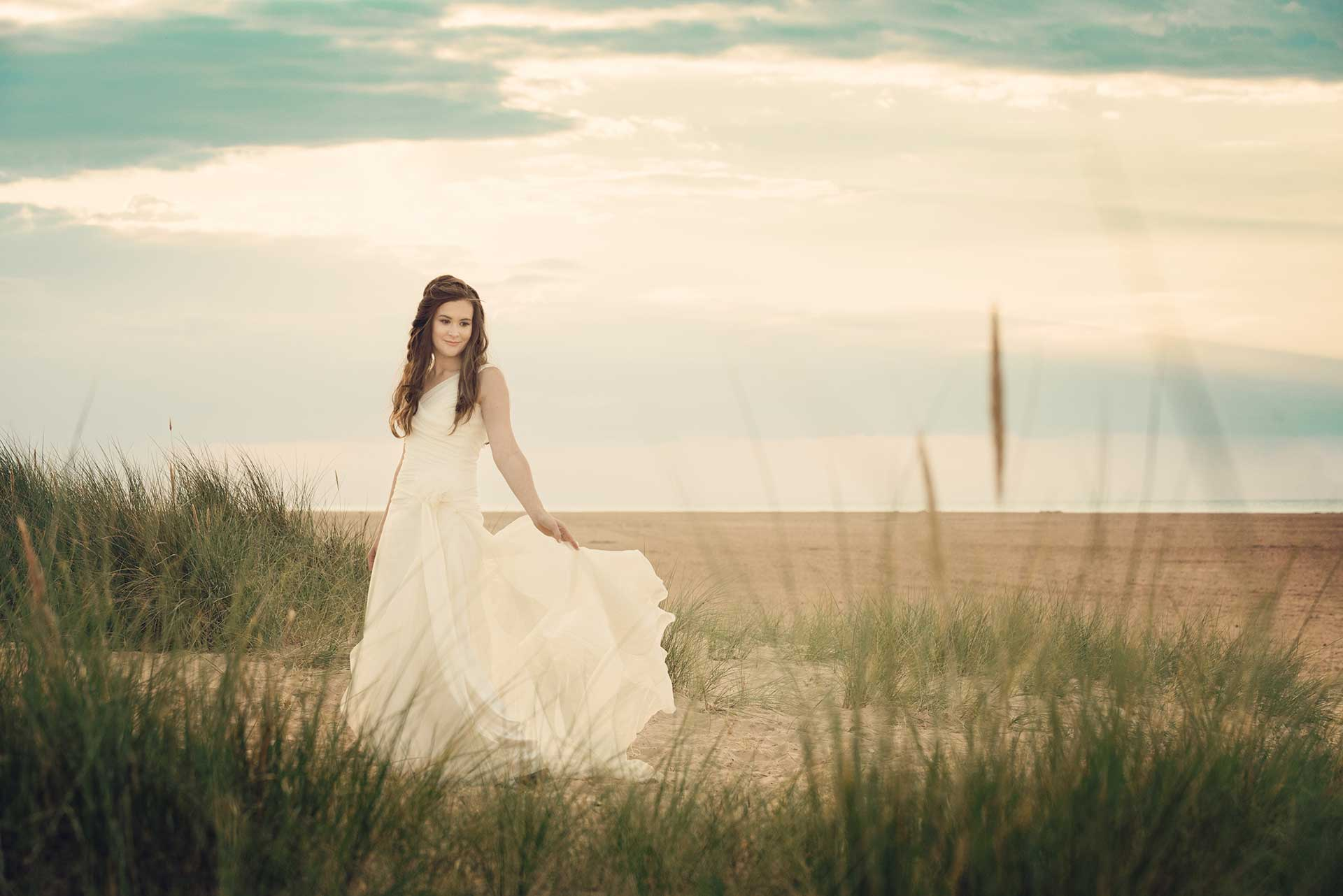 Bridal fashion shoot at Holkham beach
