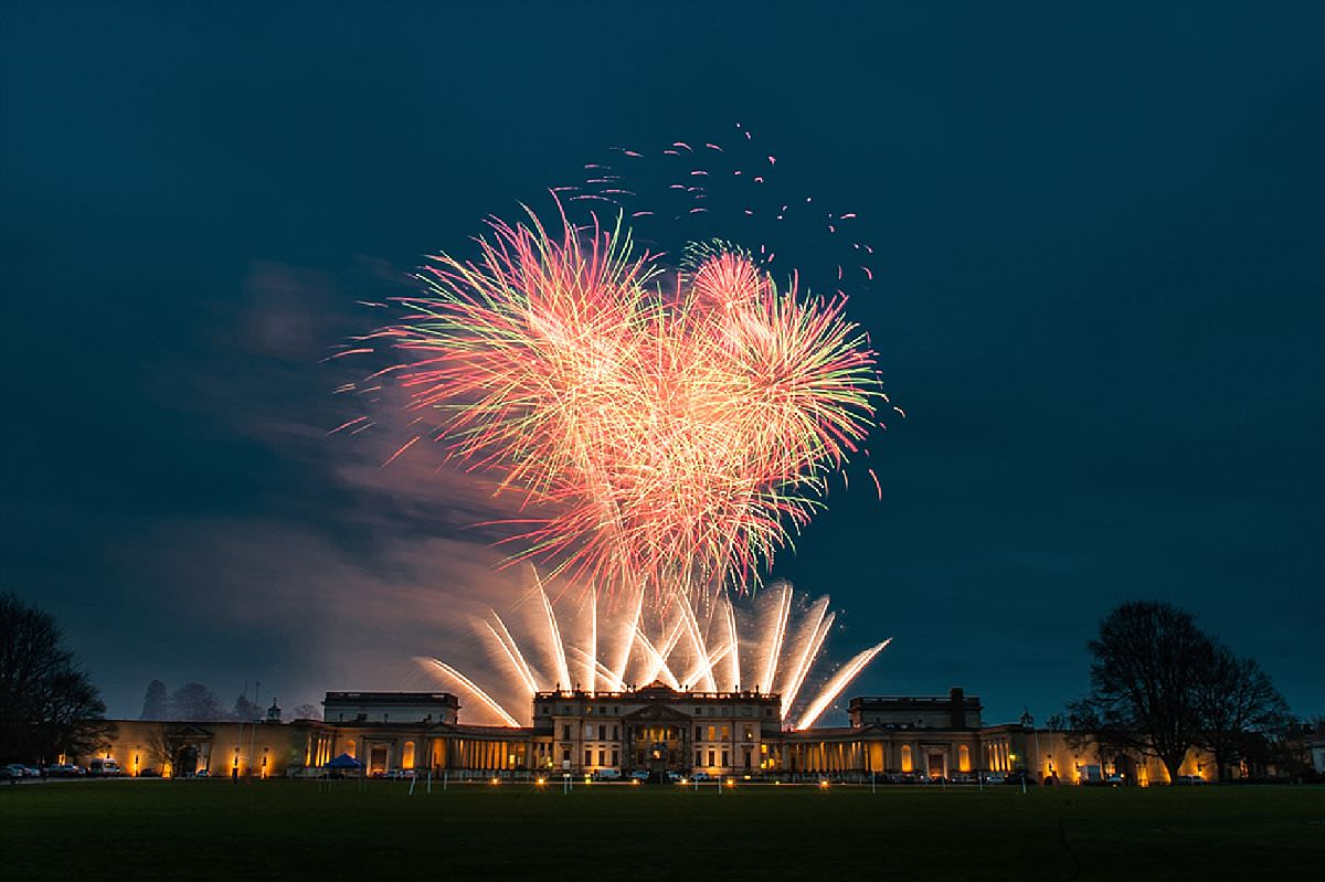 Fireworks at a wedding at Stowe School in Buckingham