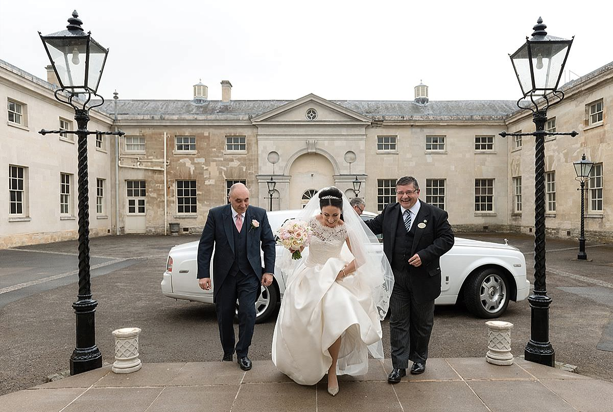 Bride arriving for the ceremony at The Sculpture Gallery at Woburn Abbey