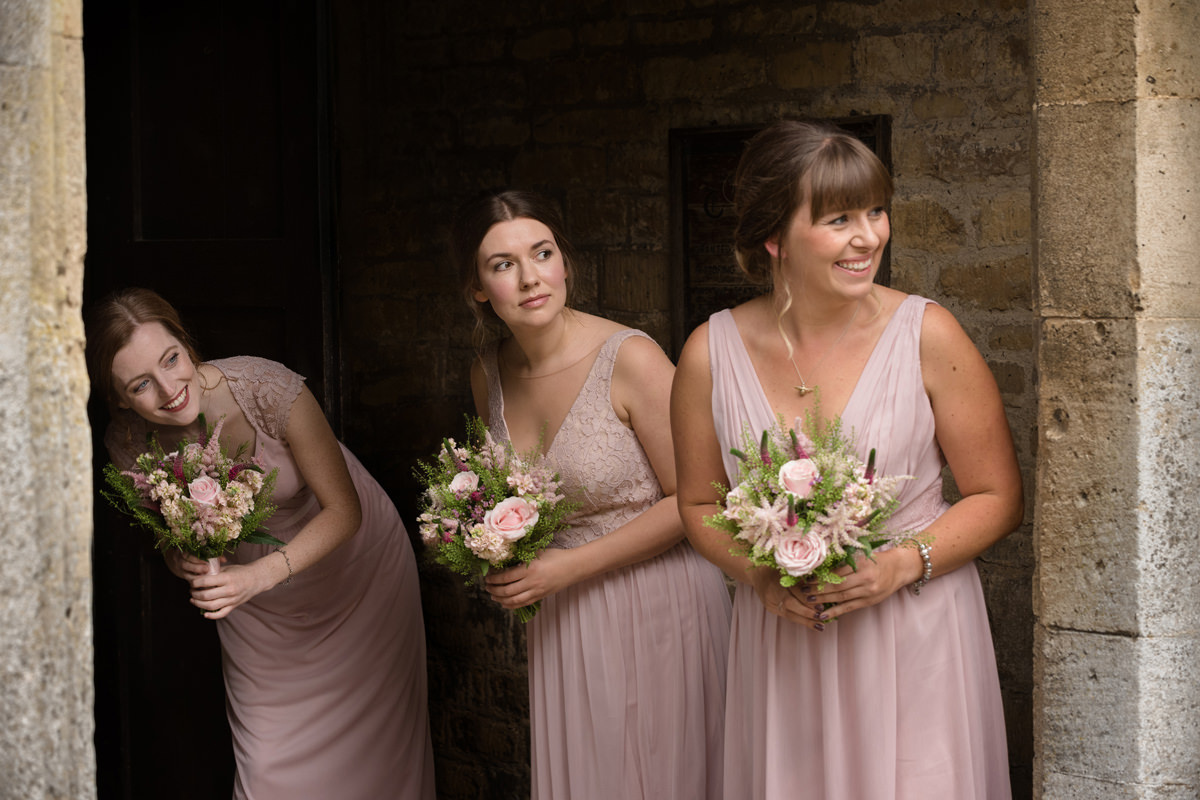 Bridesmaids at Gretton church in Northants