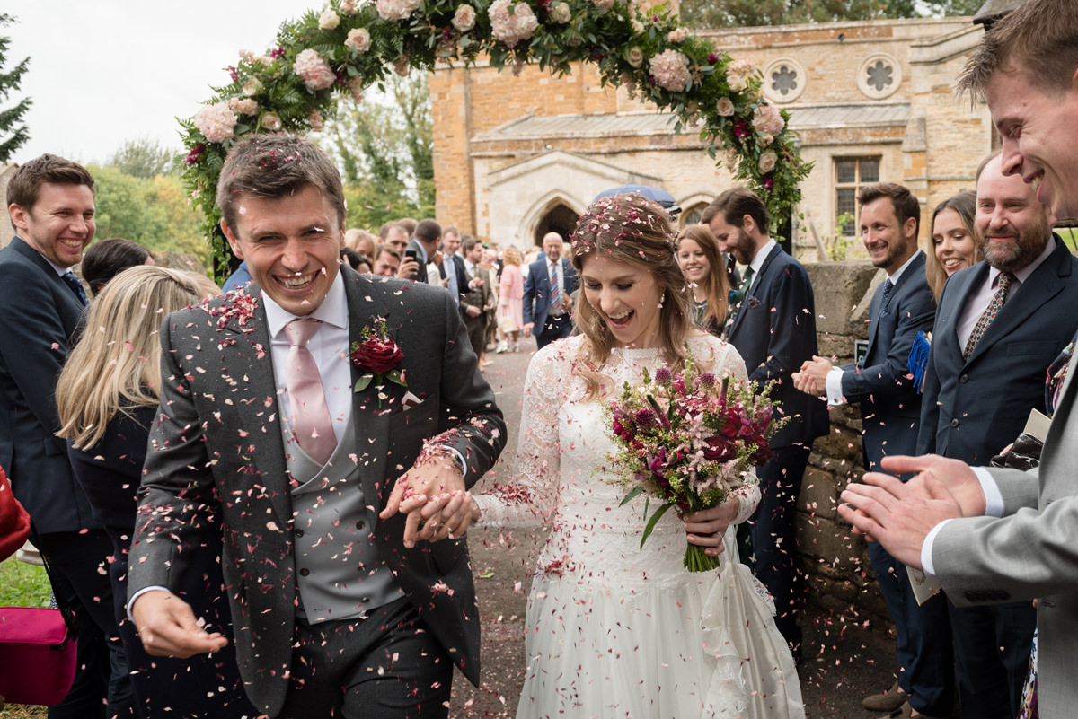 Confetti at Gretton church in Northamptonshire