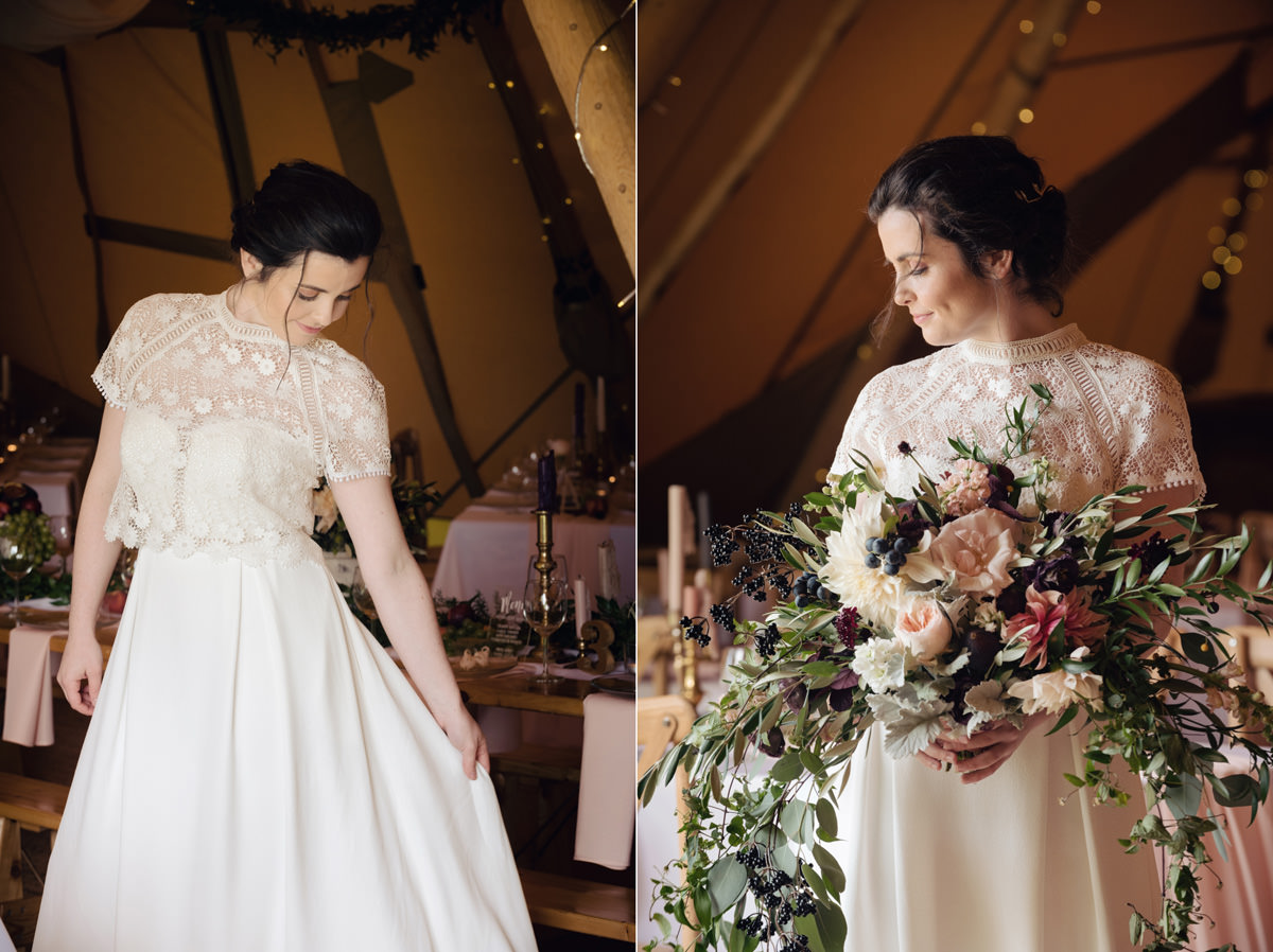 A Tuscany themed outdoor tipi wedding at Cattows Farm in Leicestershire (20)