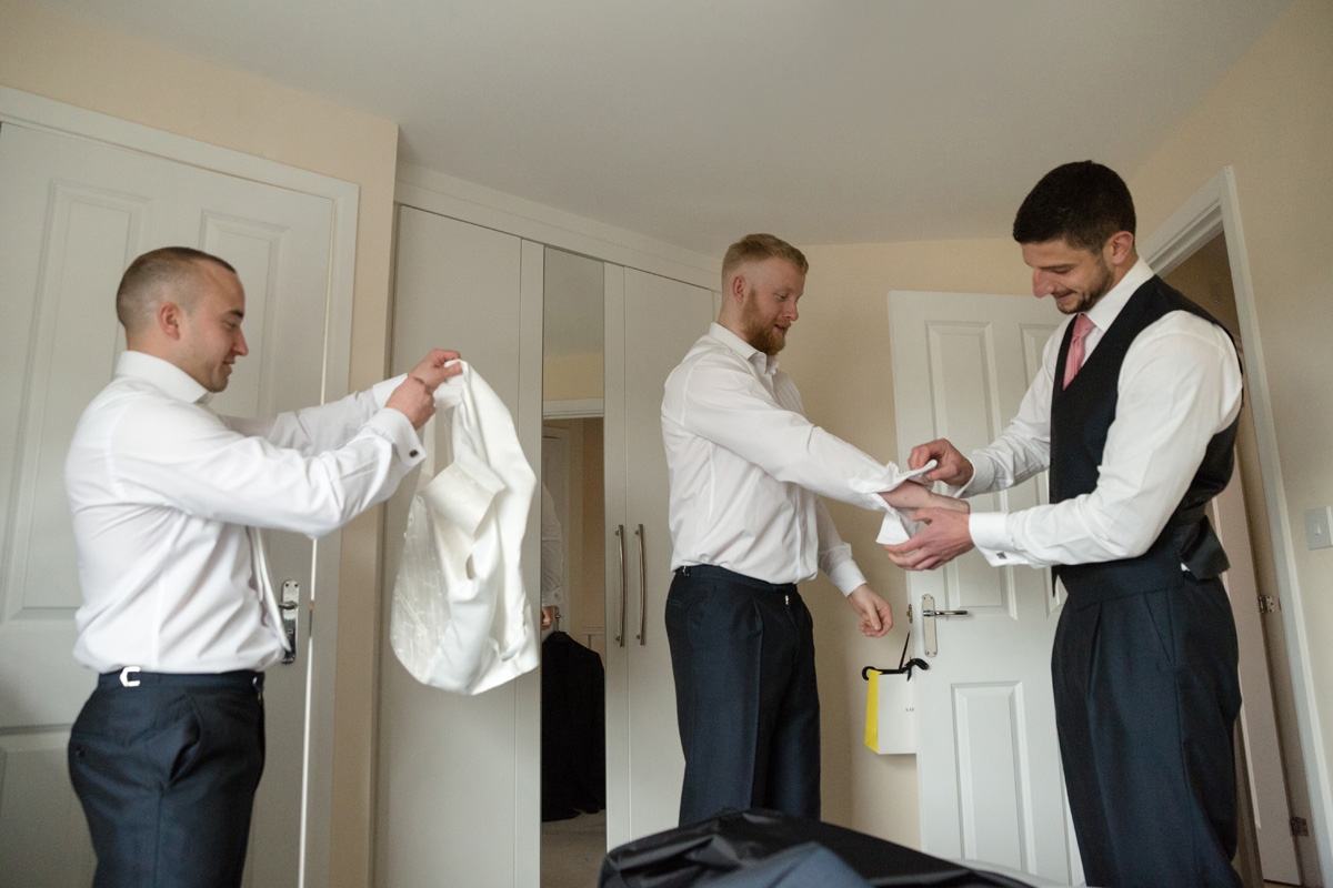 Groomsmen getting ready for a wedding