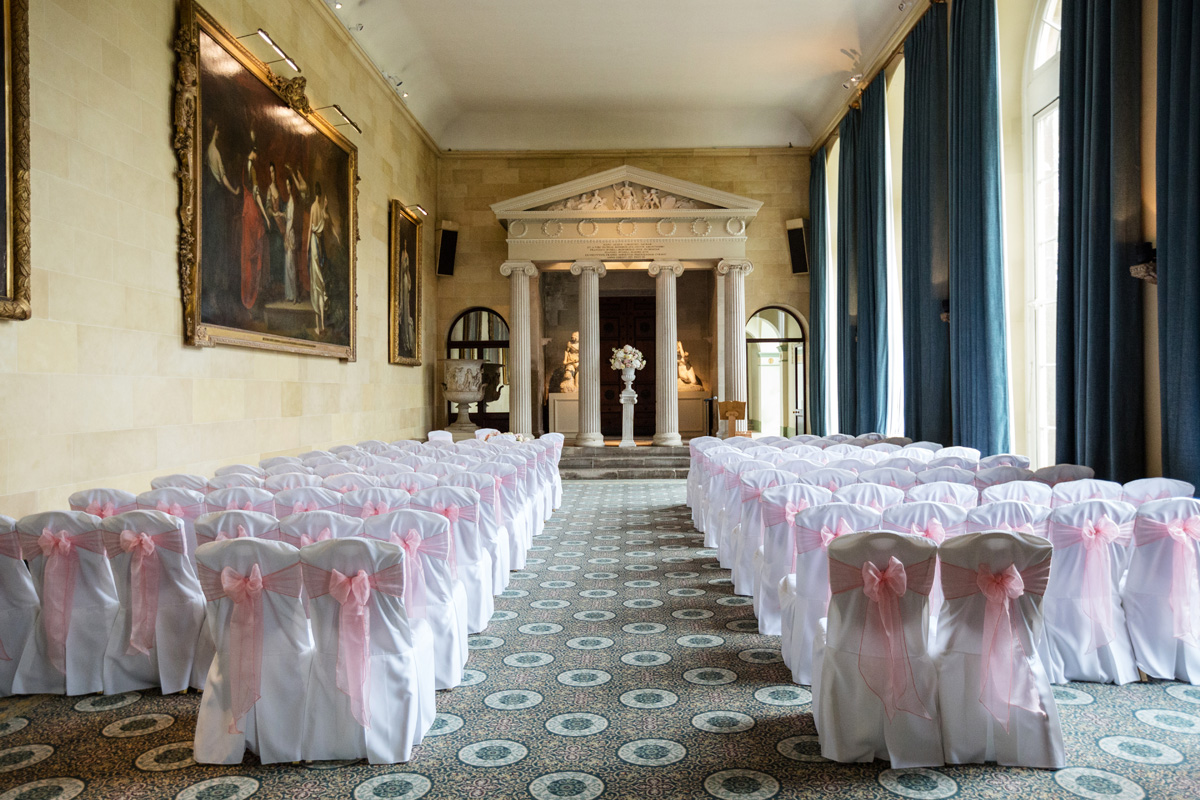 The Sculpture Gallery at Woburn Abbey set for a civil ceremony