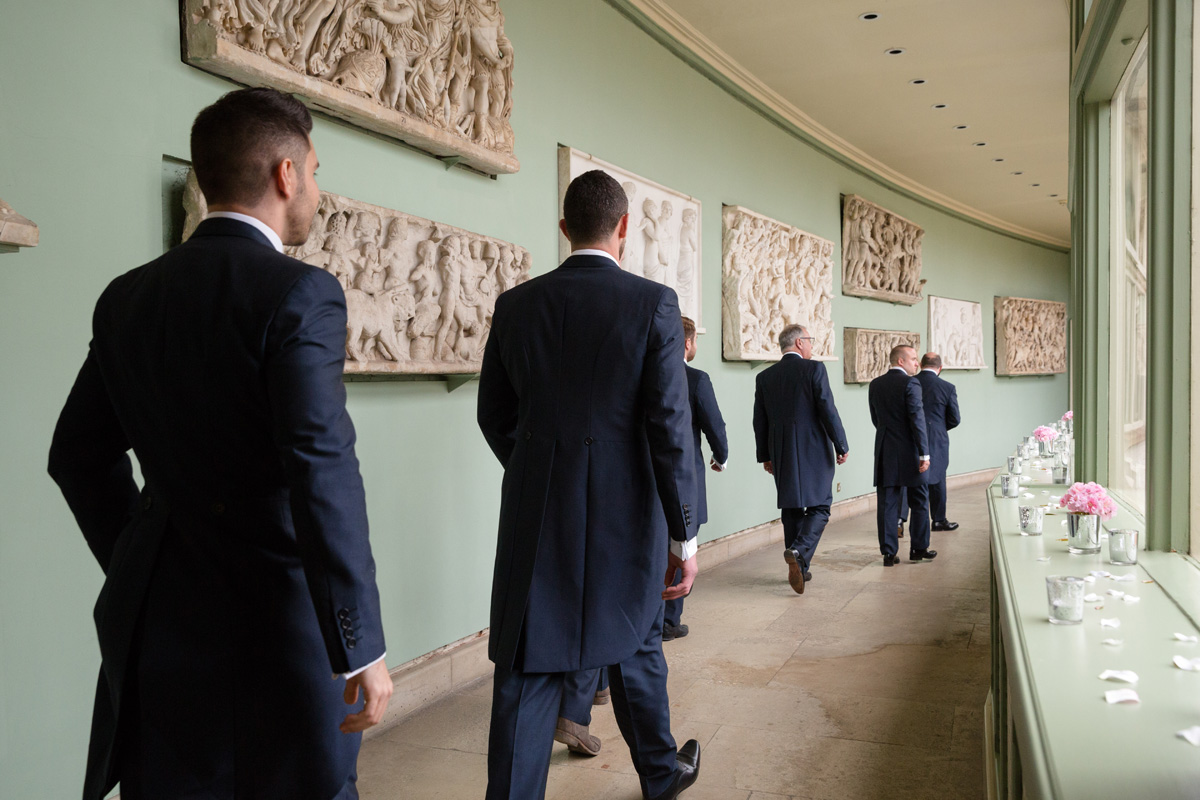 Groomsmen arriving at The Sculpture Gallery, Woburn Abbey