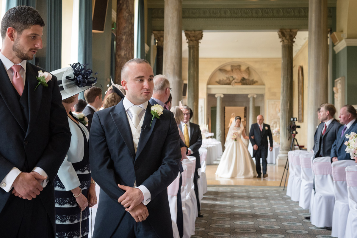 Groom waiting for the Bride at The Sculpture Gallery, Woburn Abbey