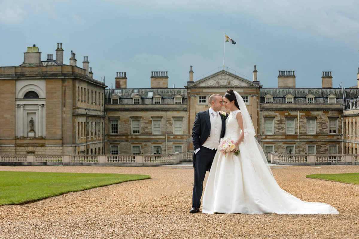 Bride & Groom in front of Woburn Abbey, Bedfordshire
