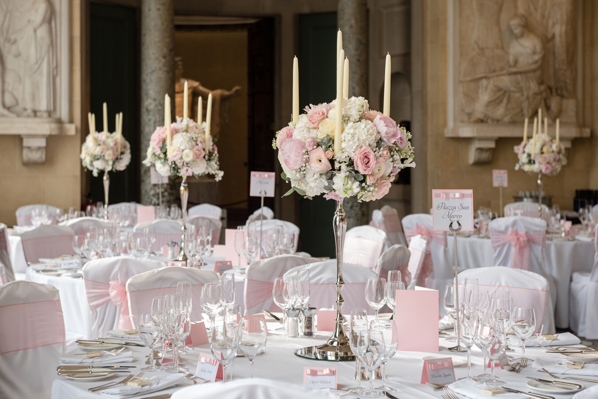 Pale pink dinner table flowers at The Sculpture Gallery, Woburn Abbey