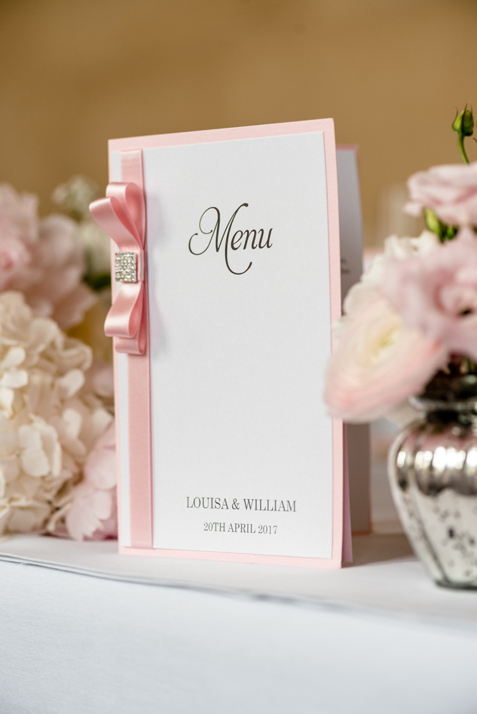 Pale pink wedding stationery at The Sculpture Gallery, Woburn Abbey