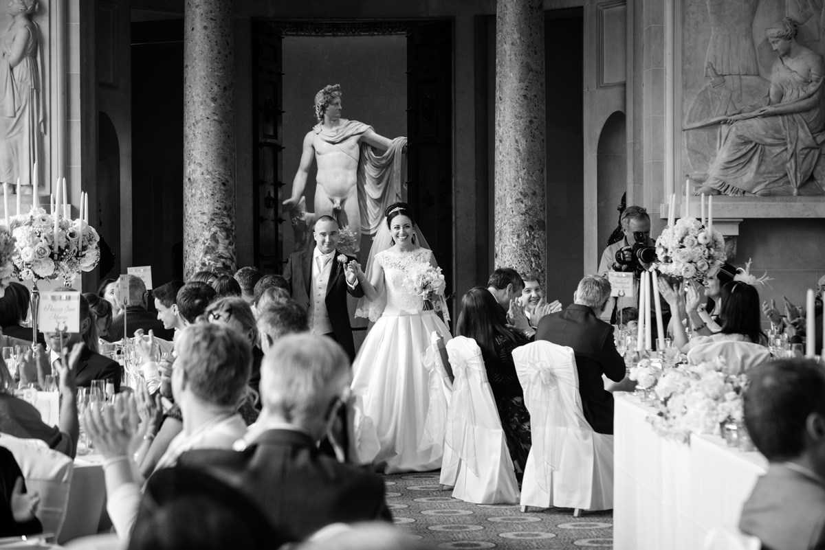 Bride & Groom entering for dinner at The Sculpture Gallery, Woburn Abbey