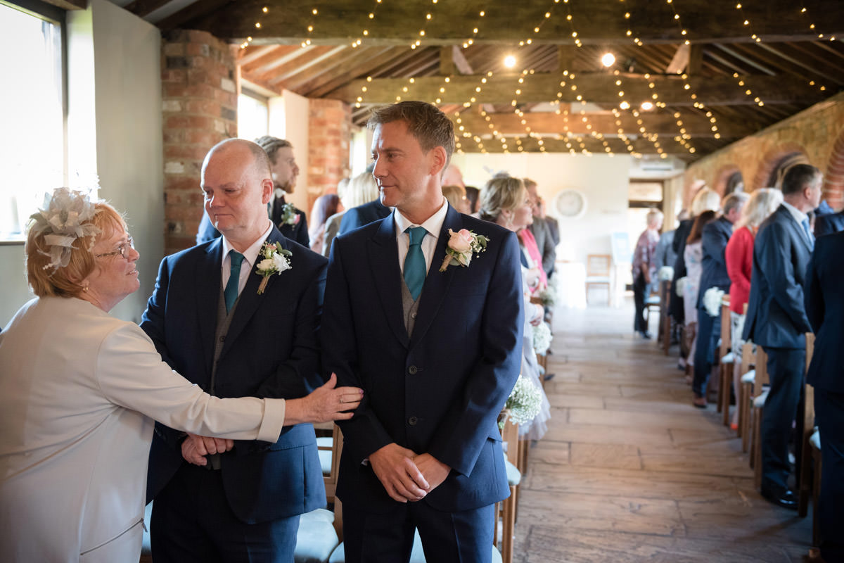 Mother of the Groom, Groom & Best Man before wedding ceremony at Dodmoor House