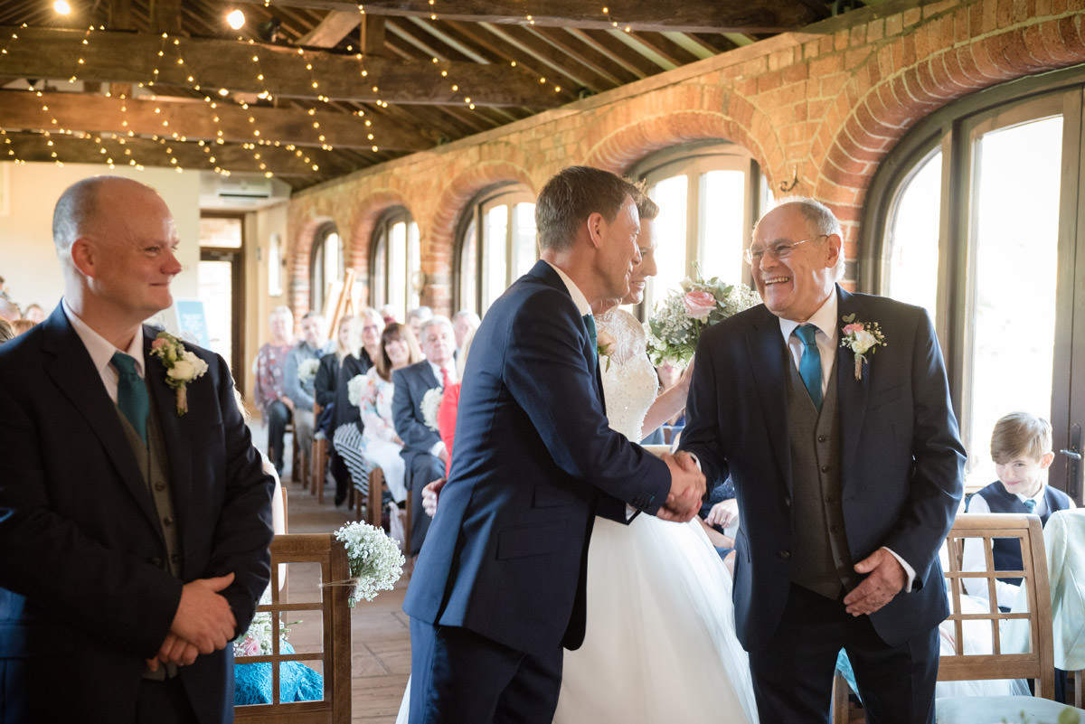 Father of the Bride shaking the Groom's hand at Dodmoor House