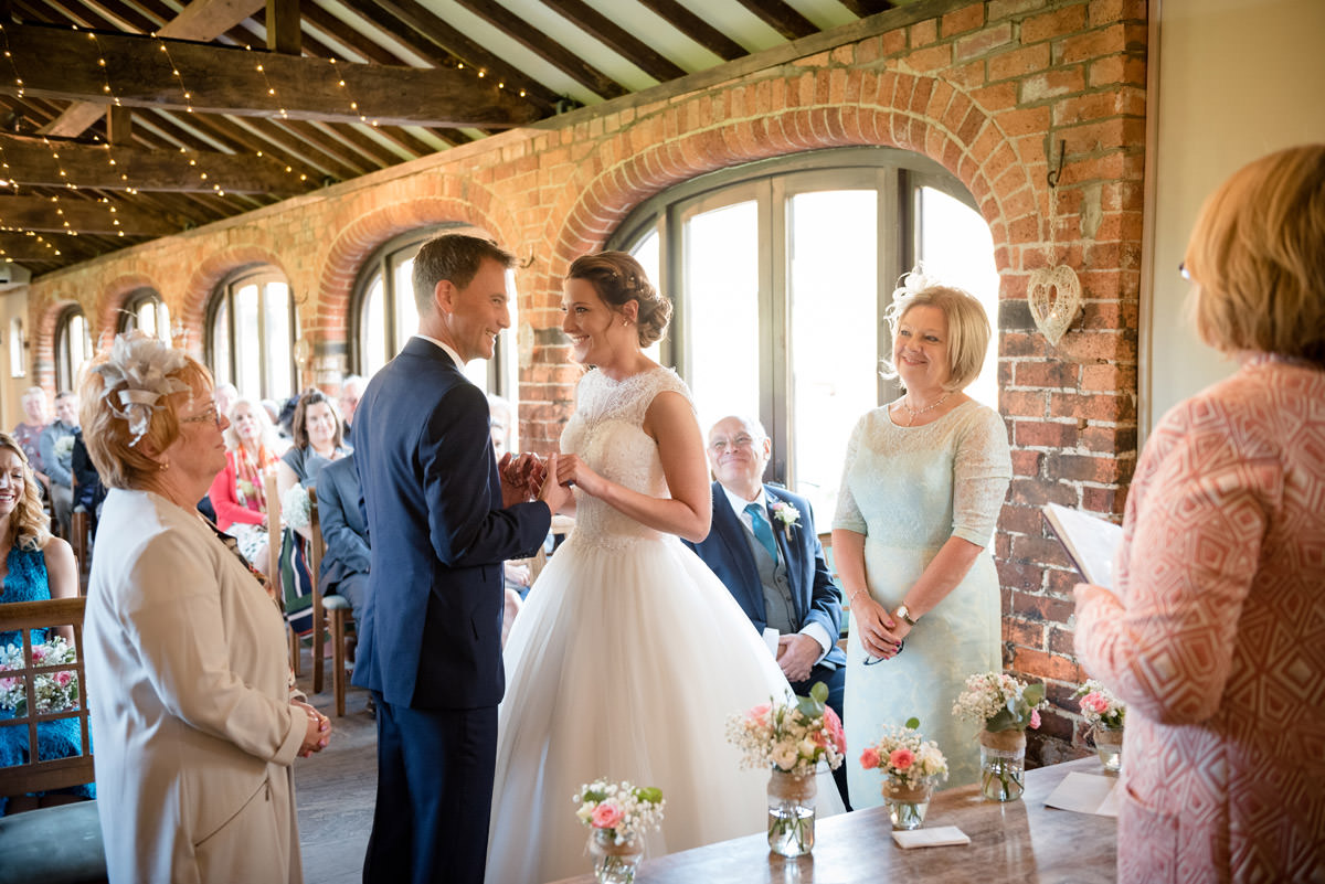 Bride & Groom making their vows at Dodmoor House