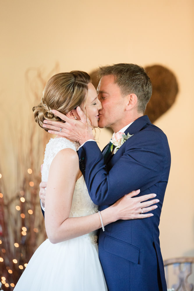 Bride & Groom's first kiss at Dodmoor House