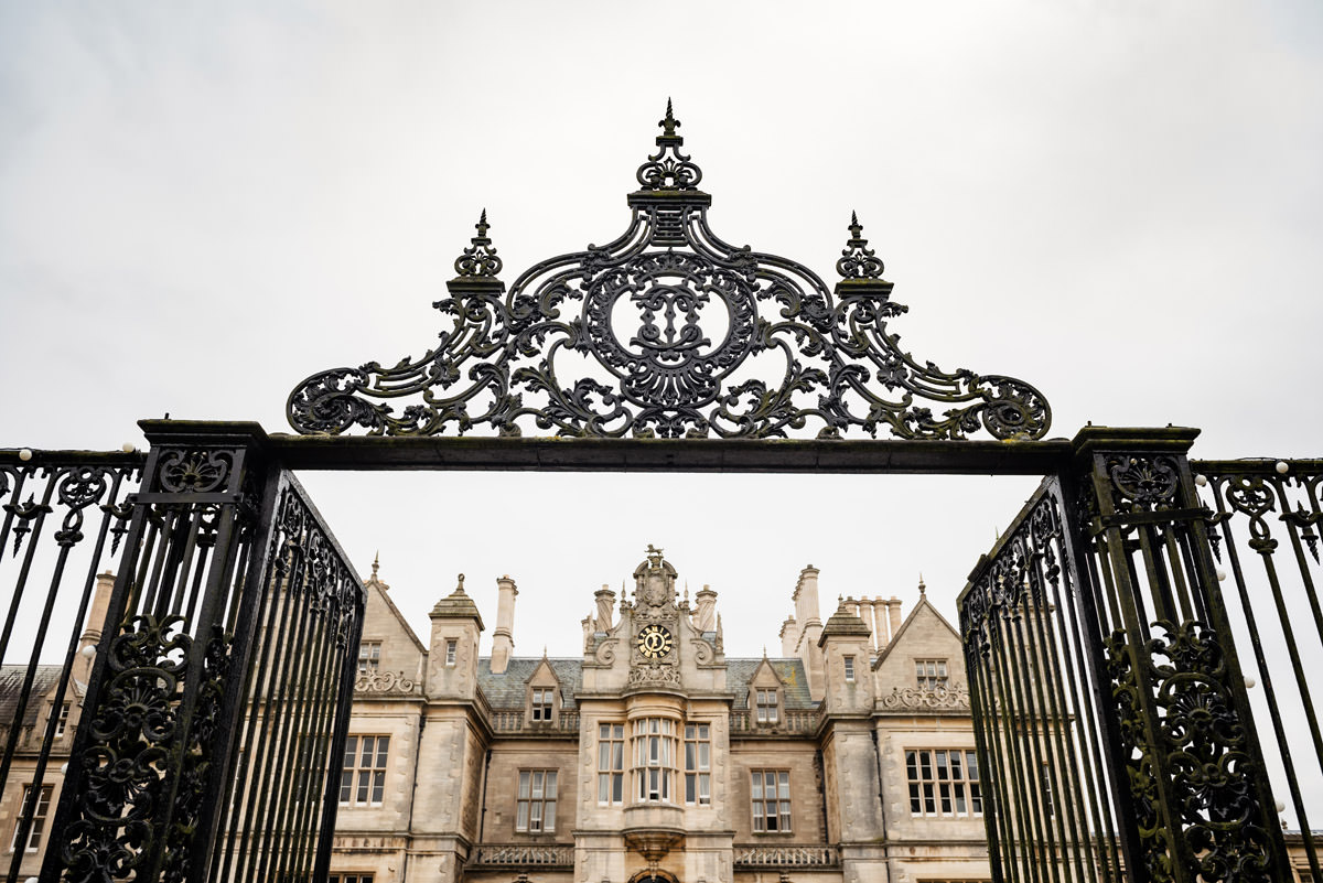 The gates to Stoke Rochford Hall - a wedding venue near Grantham in Lincolnshire