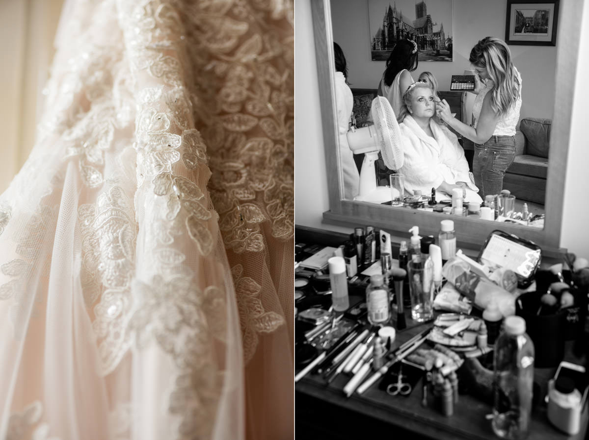 Bride having her make-up done at Stoke Rochford Hall, Grantham