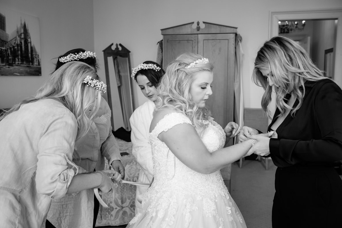 Bride getting ready at Stoke Rochford Hall, Grantham