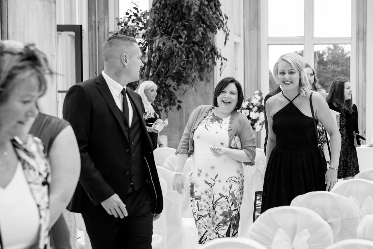 Guests entering the ceremony room at Stoke Rochford Hall, Grantham