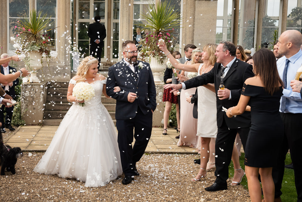Throwing confetti at Stoke Rochford Hall, Grantham