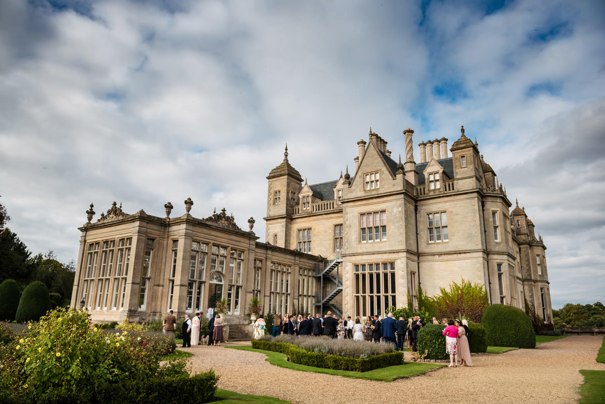 Drinks reception in the gardens at Stoke Rochford Hall, Grantham