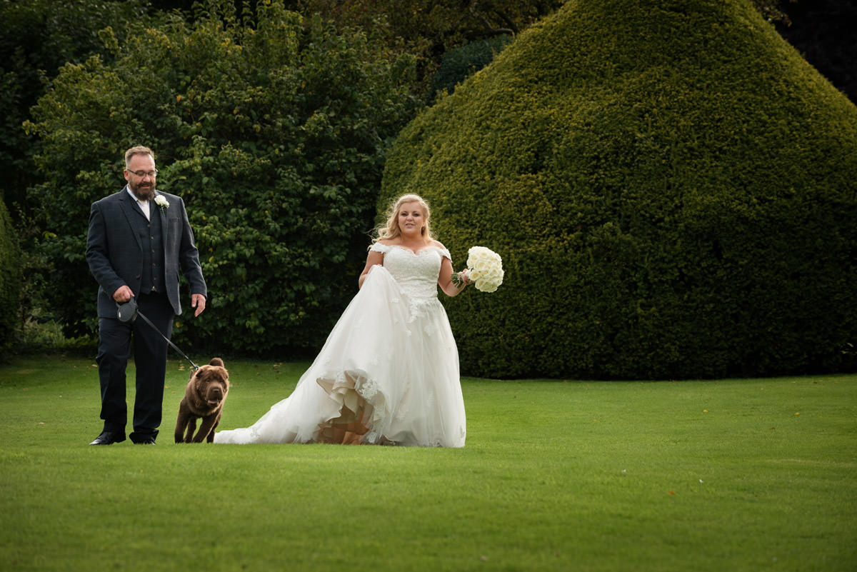 Bride & Groom walking with their dog at Stoke Rochford Hall, Grantham