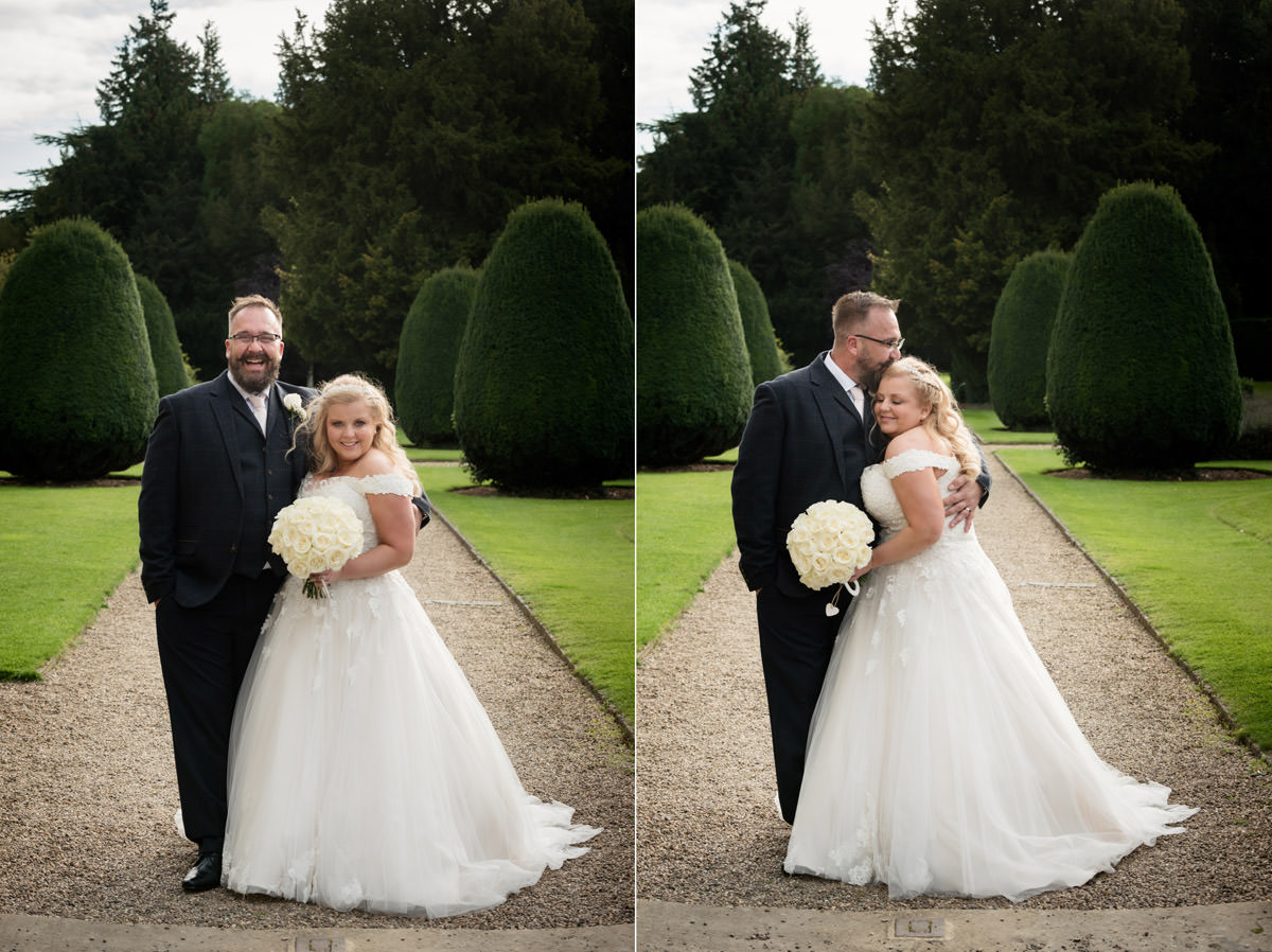 A portrait of the Bride & Groom in the gardens at Stoke Rochford Hall, Grantham