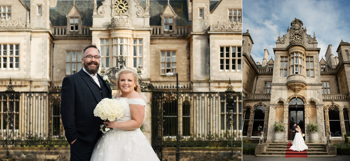 A portrait of the Bride & Groom in front of Stoke Rochford Hall, Grantham