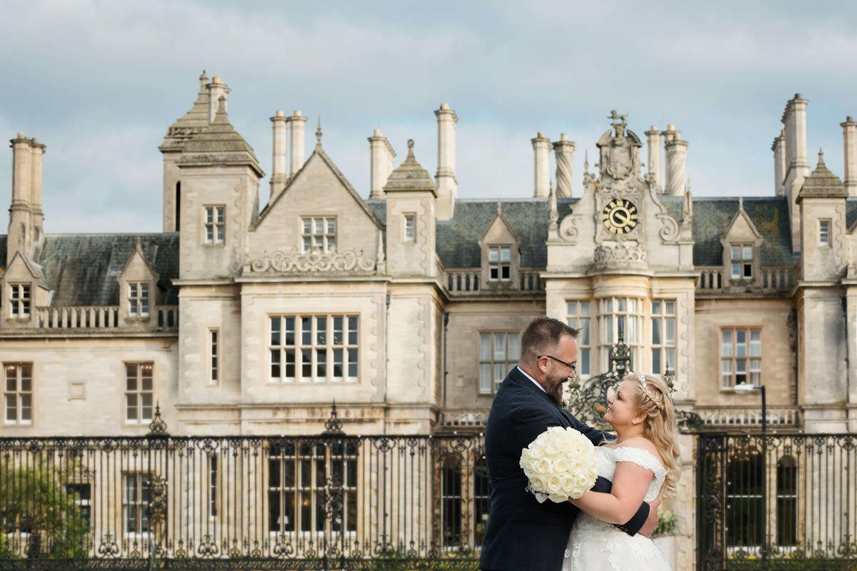 The Bride & Groom in front of Stoke Rochford Hall, Grantham