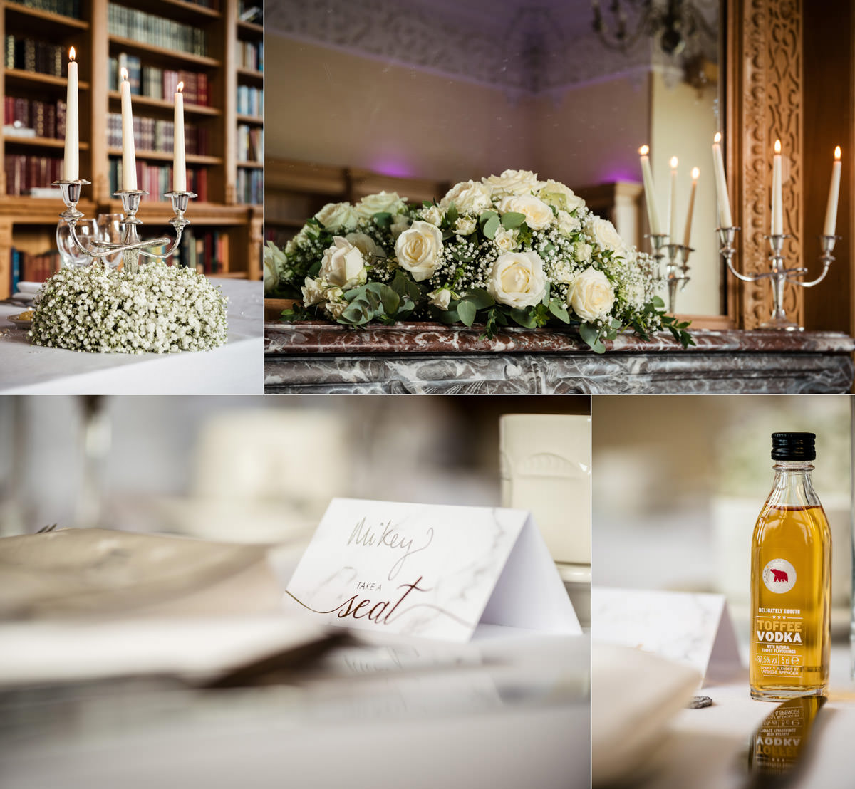 Wedding flowers, stationery & favours on the dinner tables at Stoke Rochford Hall, Grantham