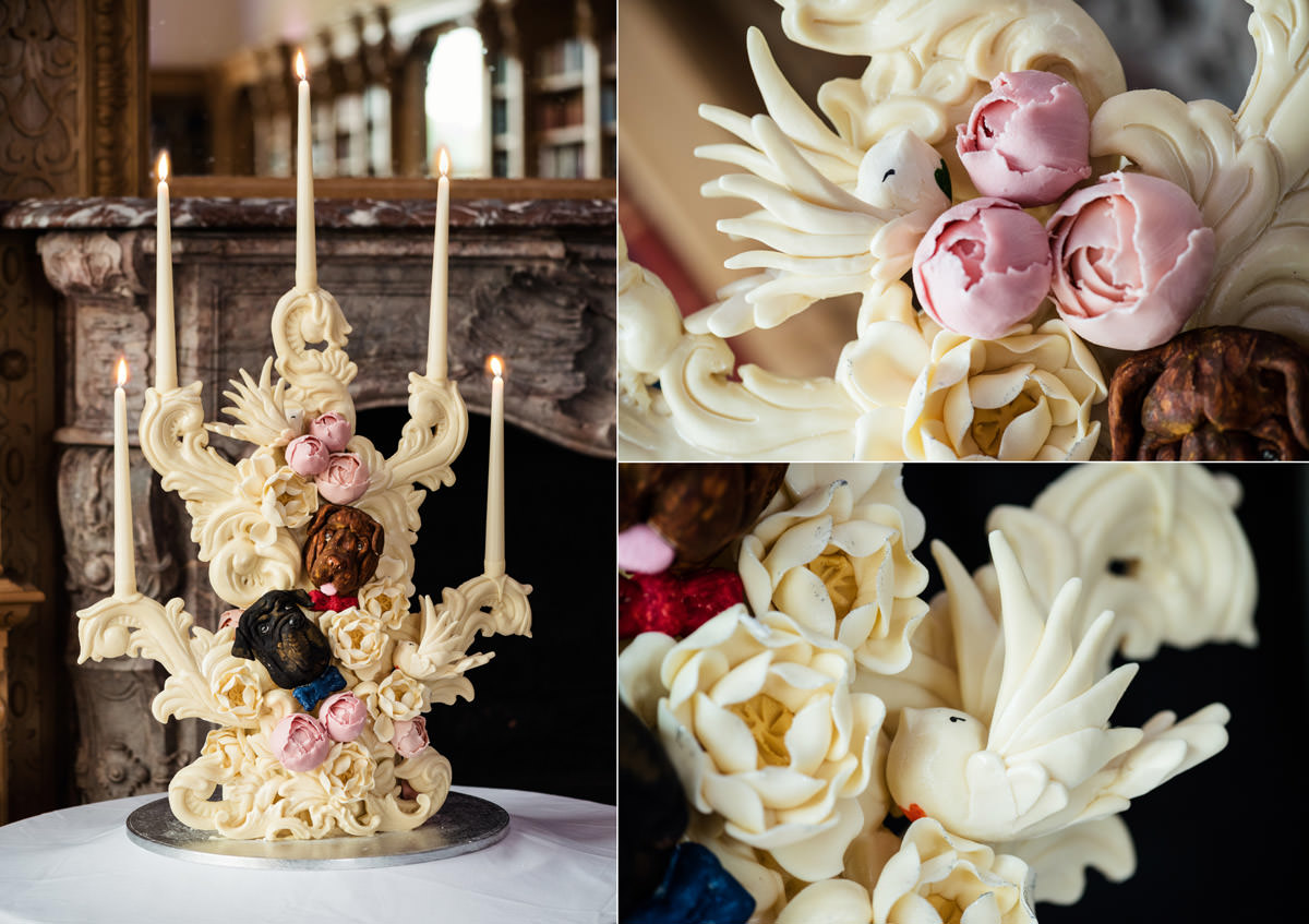 A Choccywoccydoodah wedding cake at Stoke Rochford Hall, Grantham
