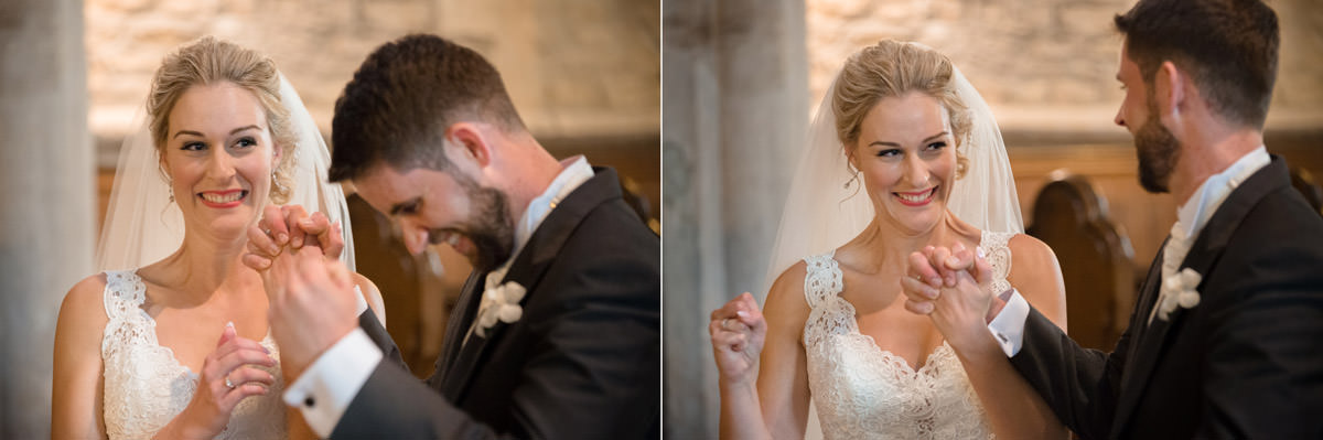 Bride looking excited to be married at Woodnewton church in Peterborough