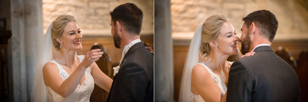 Bride smiling at the Groom at Woodnewton church in Peterborough