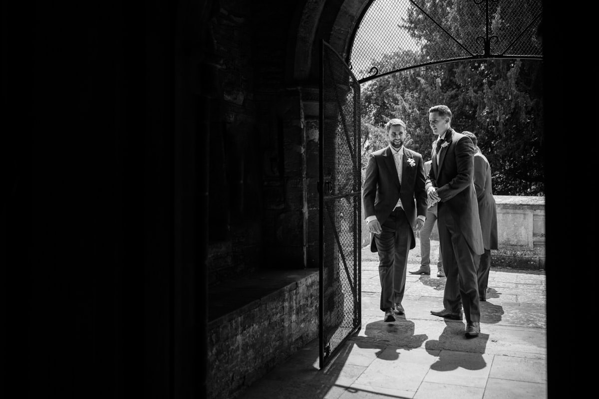 Groom & Ushers arriving for a wedding at Woodnewton Church near Peterborough