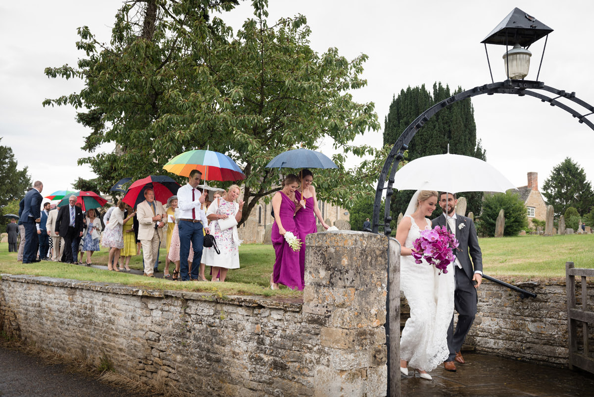 A wet wedding at Woodnewton Church near Peterborough