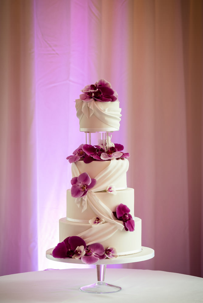 A wedding cake at Barnsdale Hall Hotel on Rutland Water
