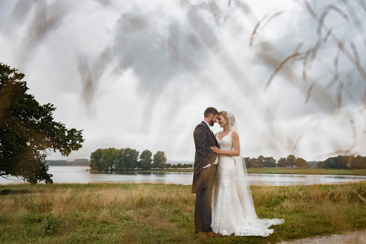 Bride & Groom on their wedding day at Barnsdale Hall Hotel on Rutland Water