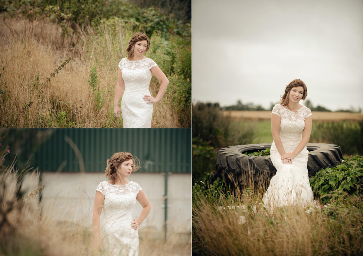 Bride amongst long grasses on a farm in Northampton