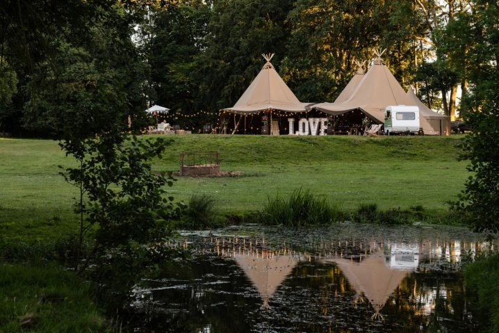A tipi set up for a wedding at Pipewell Hall