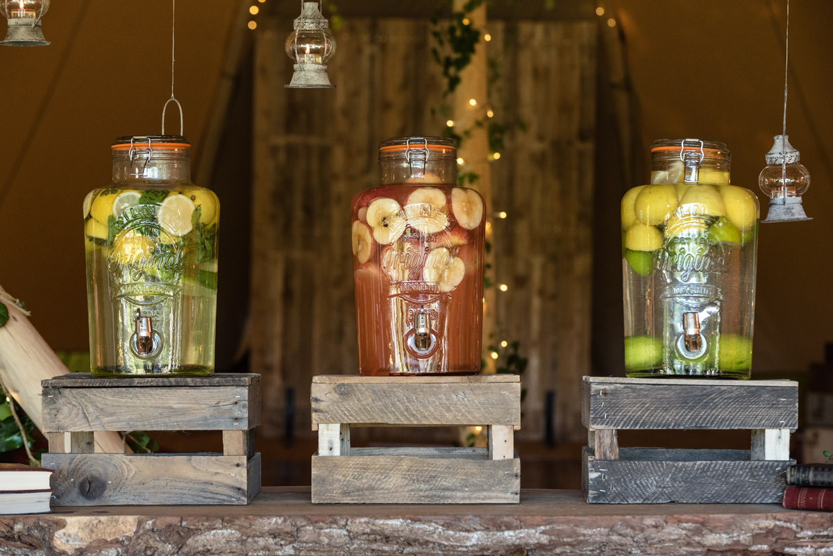 Drinks ideas for a tipi wedding at Pipewell Hall