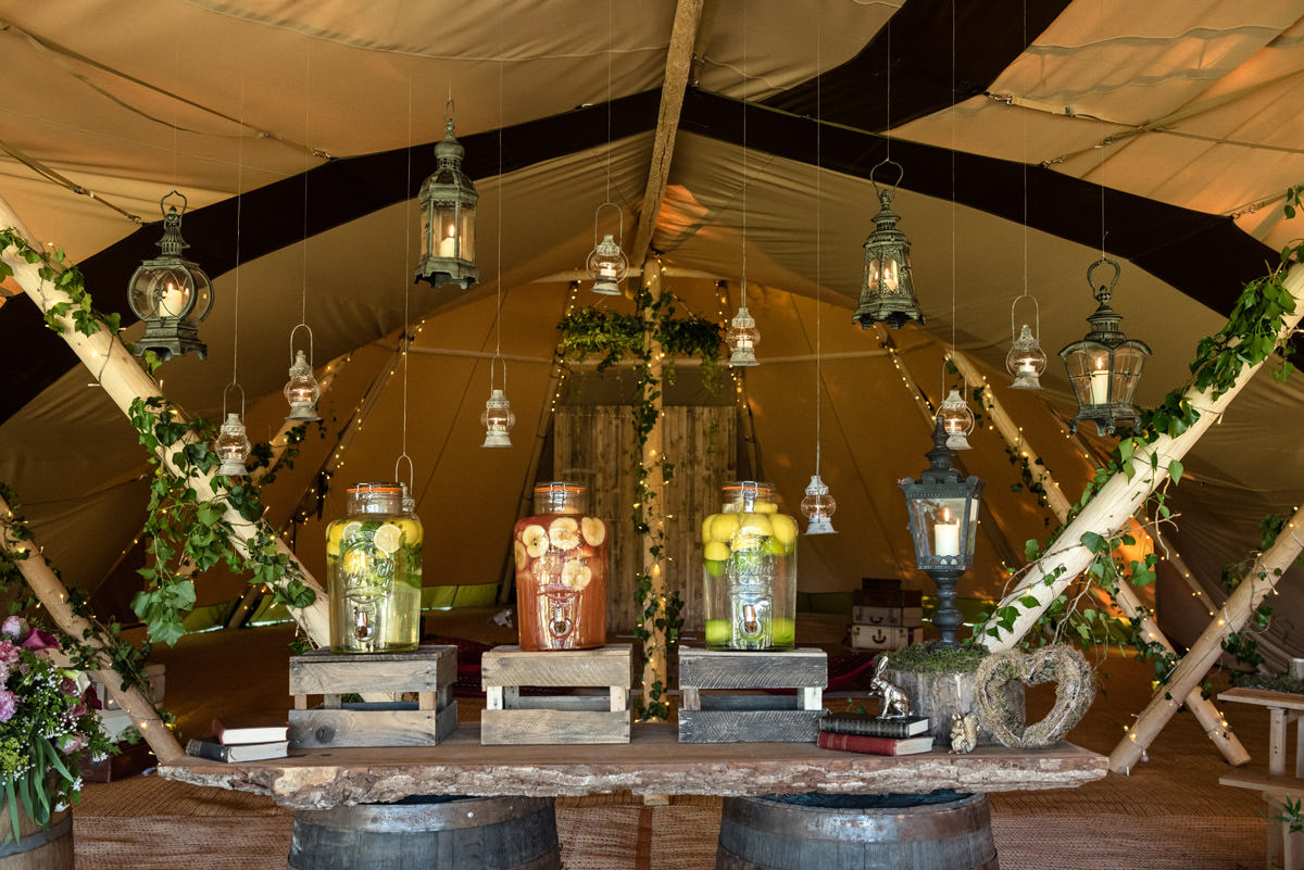 Help yourself drinks station for a tipi wedding at Pipewell Hall