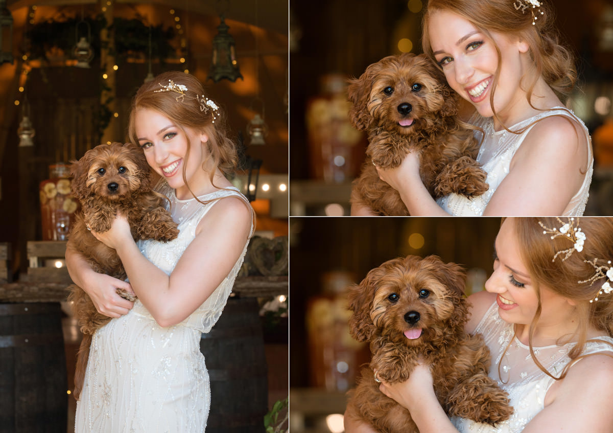 A bride and her dog at a tipi wedding at Pipewell Hall