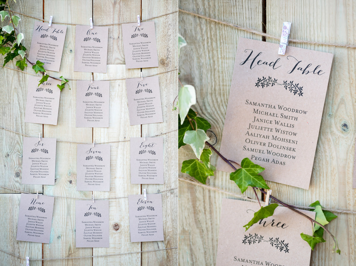 A rustic table plan at Pipewell Hall