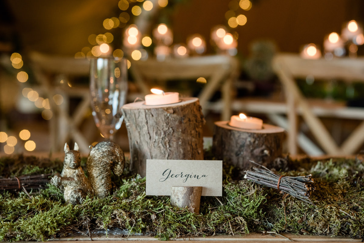A rustic place setting for a tipi wedding at Pipewell Hall