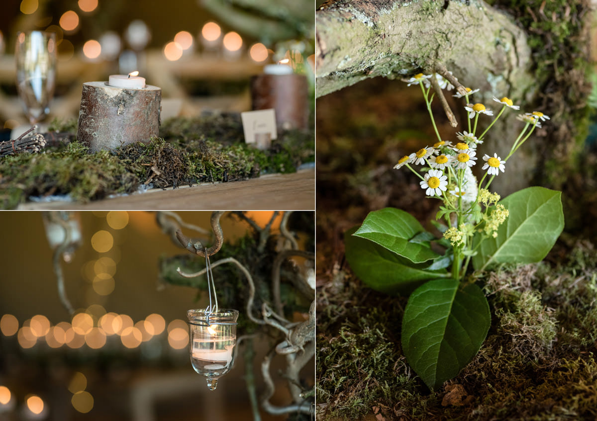 Details of a rustic table centre for a tipi wedding at Pipewell Hall